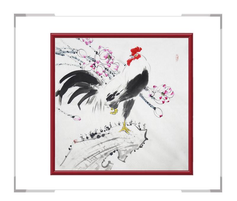 中国工笔画学会会员刘宗伟作品-花鸟画斗方公鸡三