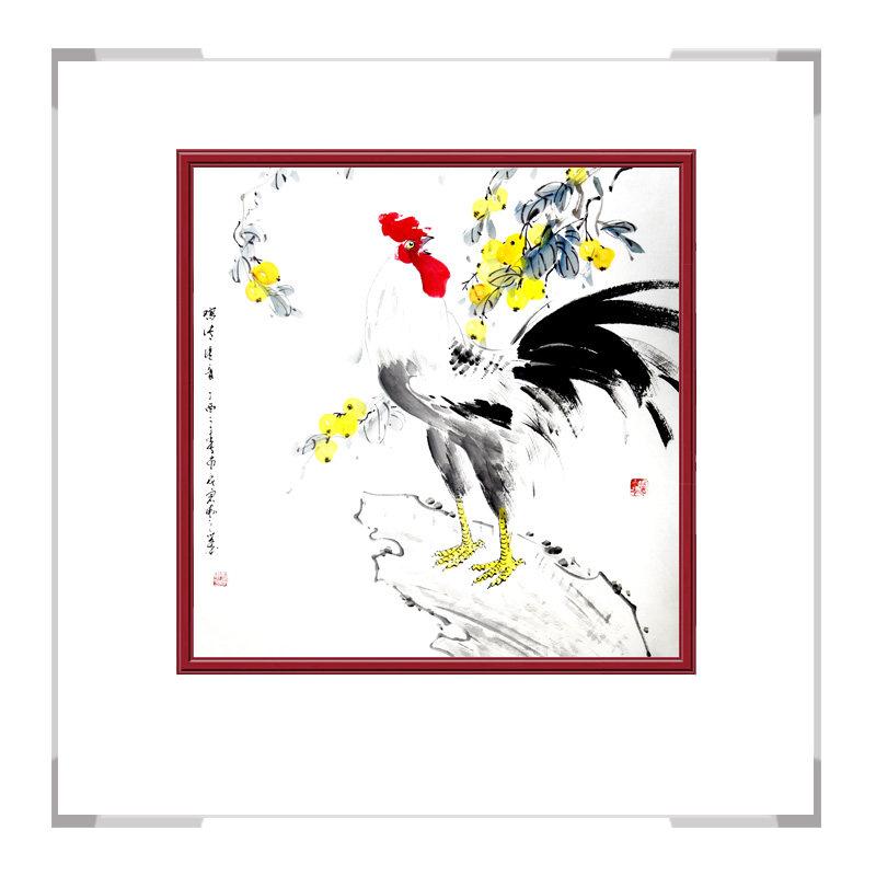 中国工笔画学会会员刘宗伟老师-斗方花鸟画公鸡一