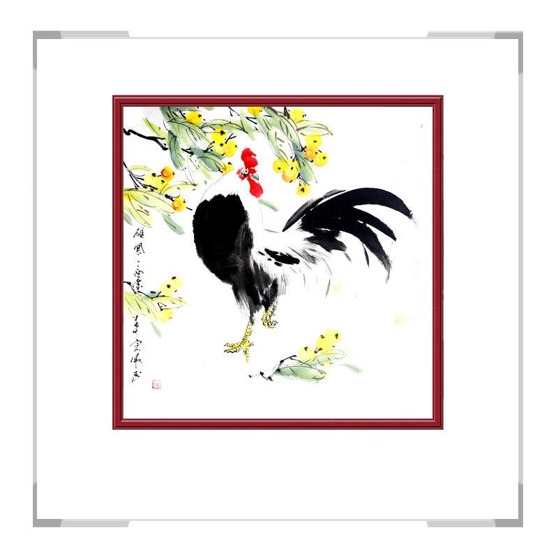 中国工笔画学会会员刘宗伟老师-斗方花鸟画公鸡二