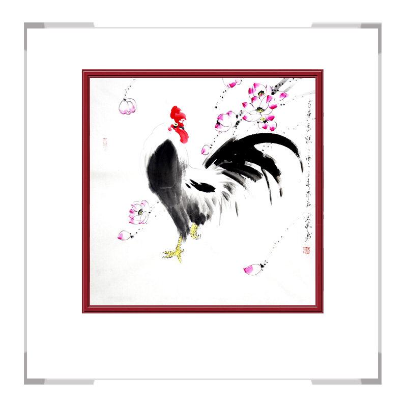 中国工笔画学会会员刘宗伟老师作品-斗方花鸟画公鸡一