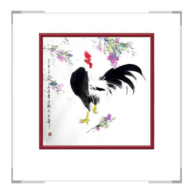 中国工笔画学会会员刘宗伟老师作品-斗方花鸟画公鸡二