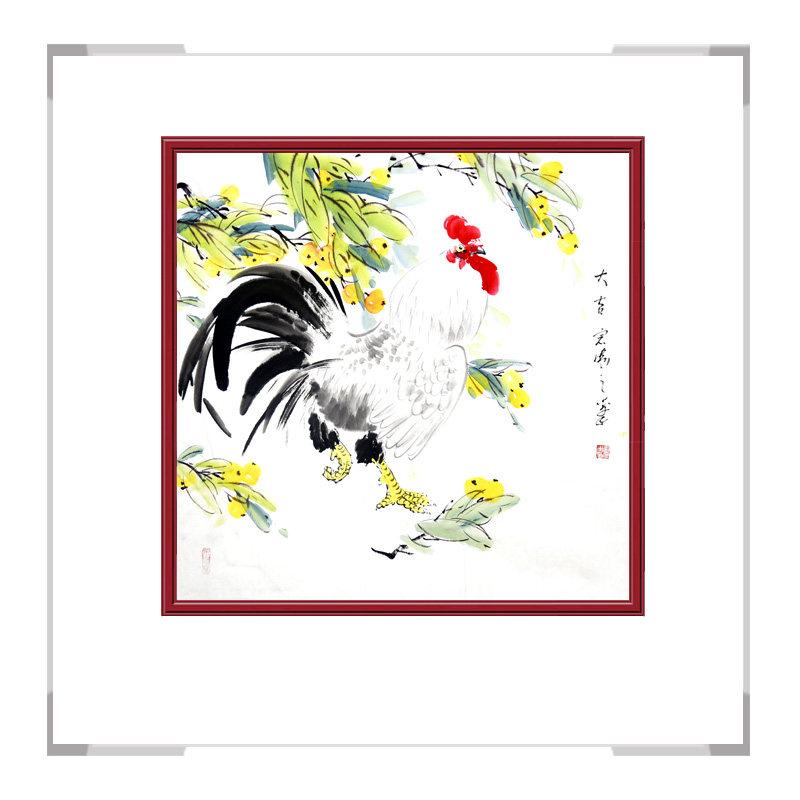 中国工笔画学会会员刘宗伟老师-花鸟画斗方公鸡二