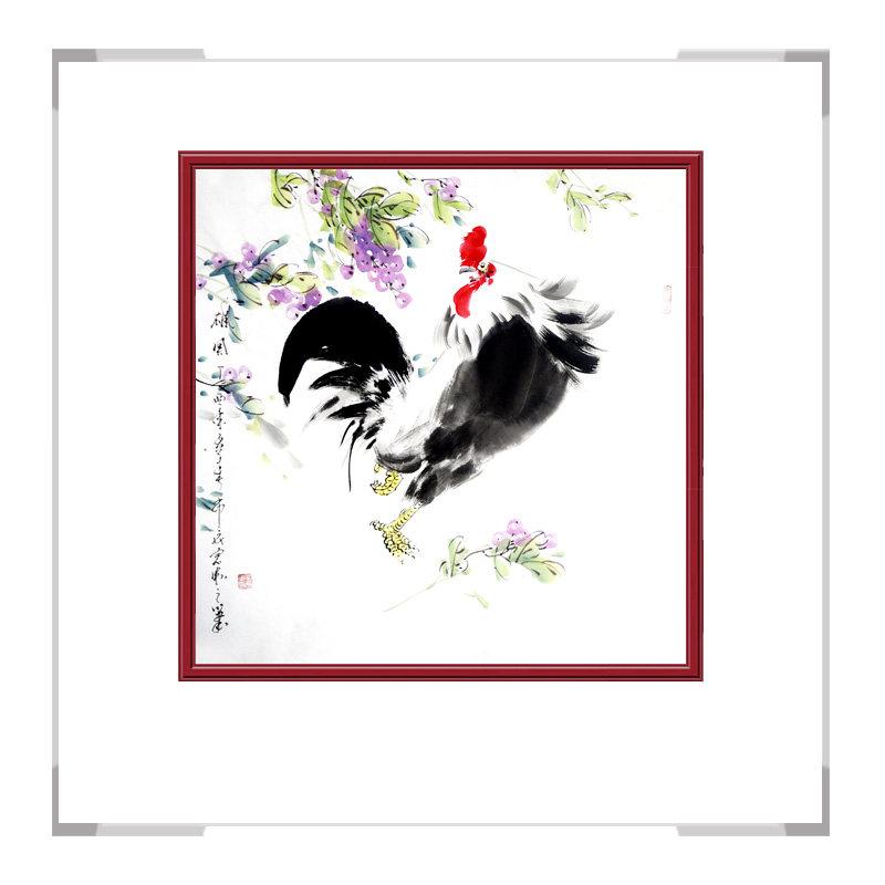 中国工笔画学会会员刘宗伟老师作品-花鸟画斗方公鸡第一款