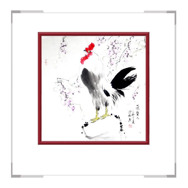 中国工笔画学会会员刘宗伟老师作品-花鸟画斗方公鸡第二款