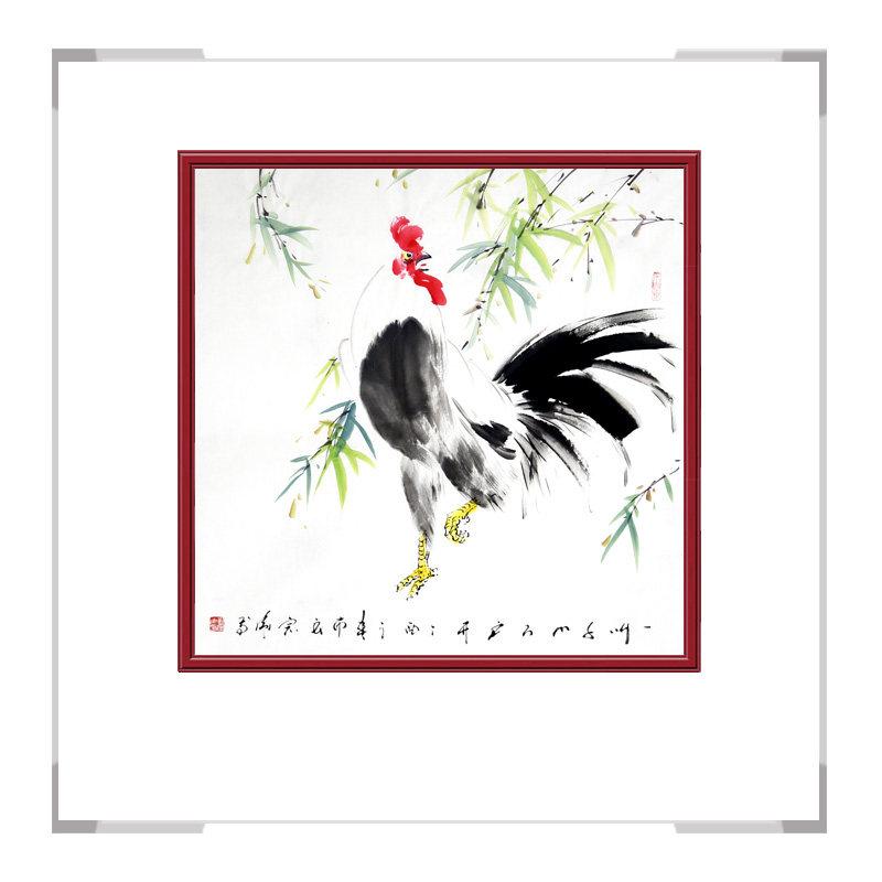 中国工笔画学会会员刘宗伟老师作品-花鸟画斗方公鸡第三款