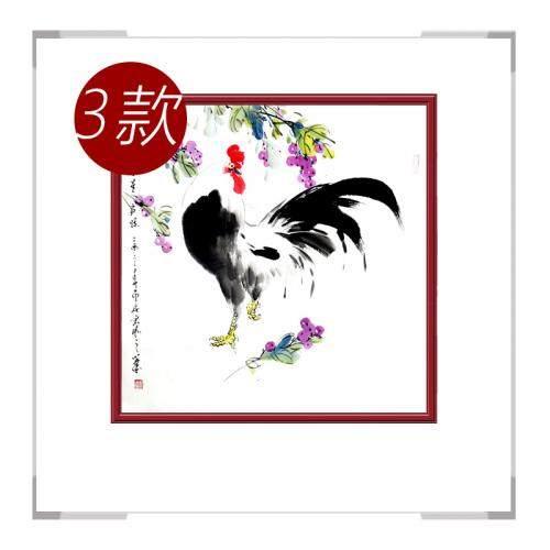 中国工笔画学会会员画家刘宗伟-花鸟画斗方公鸡三