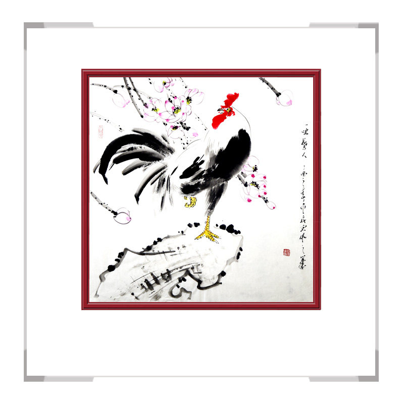 中国工笔画学会会员画家刘宗伟-斗方花鸟画公鸡一