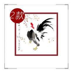 中国工笔画学会会员画家刘宗伟-斗方花鸟画公鸡二