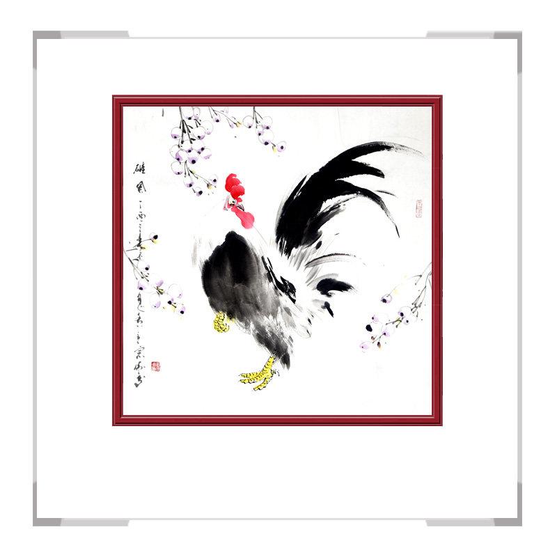 中国工笔画学会会员画家刘宗伟-斗方花鸟画公鸡三