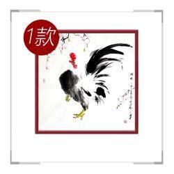 中国工笔画学会会员画家刘宗伟作品-斗方花鸟画公鸡一