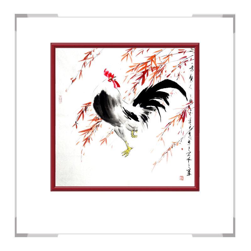 中国工笔画学会会员画家刘宗伟作品-斗方花鸟画公鸡三