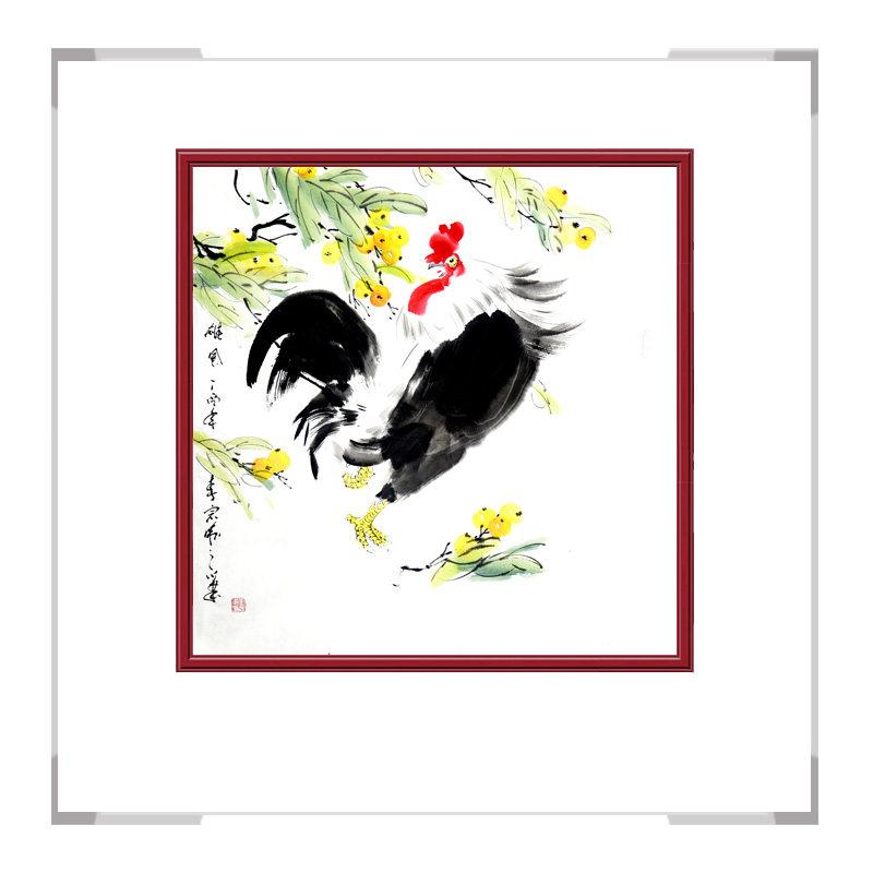 中国工笔画学会会员画家刘宗伟-花鸟画斗方公鸡一